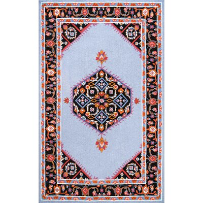 Rachida Hand-Hooked Blue/Black Area Rug Rug Size: Rectangle 76 x 96