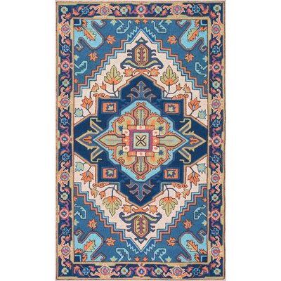 Bloomfield Hand-Hooked Blue/Beige Area Rug Rug Size: 76 x 96