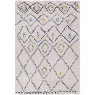 Korra White/Gray Area Rug Rug Size: Rectangle 53 x 77