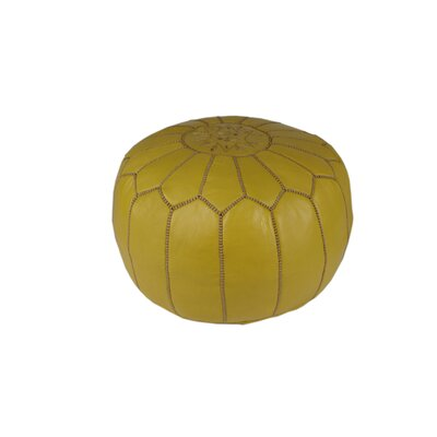Clarkdale Embroidered Pouf Ottoman Upholstery: Mustard