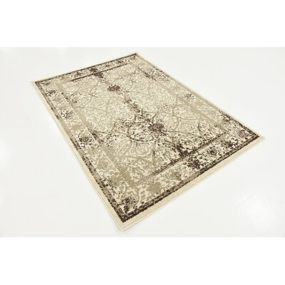 Rayden Beige/Brown Area Rug Rug Size: Rectangle 4 x 56