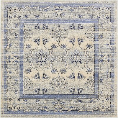 Imperial Ivory/Blue Area Rug Rug Size: Square 3'