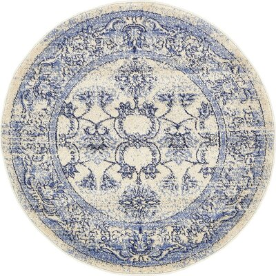 Imperial Ivory/Blue Area Rug Rug Size: Round 8