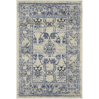 Imperial Ivory/Blue Area Rug Rug Size: 2 x 3