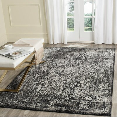 Elson Black/Gray Area Rug Rug Size: Rectangle 4 x 6