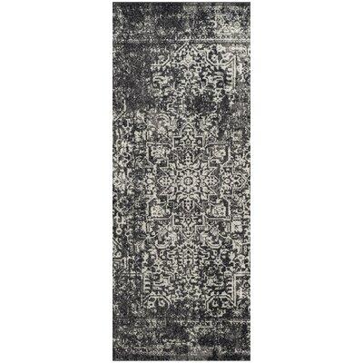 Ameesha Black/Gray Area Rug Rug Size: Runner 22 x 7