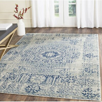 Ameesha Ivory/Blue Area Rug Rug Size: Square 67