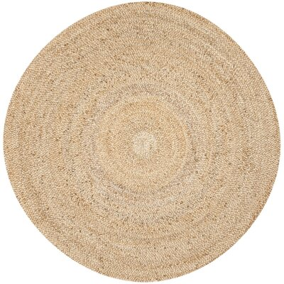 Liza Hand-Woven Natural Area Rug Rug Size: Round 7