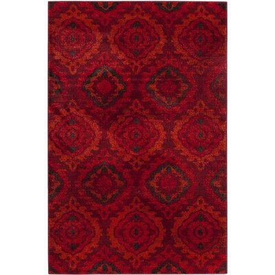 Luoma Red Area Rug Rug Size: Rectangle 3 x 5