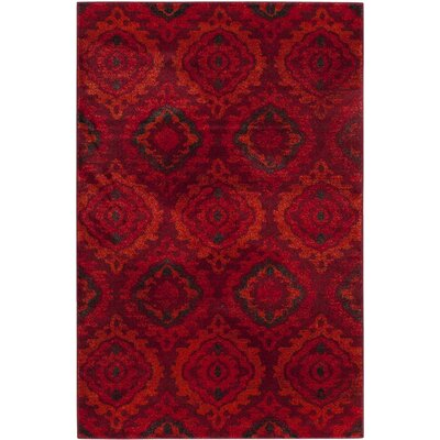 Luoma Red Area Rug Rug Size: 4 x 6