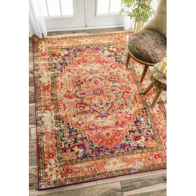 Seshadri Orange Area Rug Rug Size: Rectangle 4 x 6
