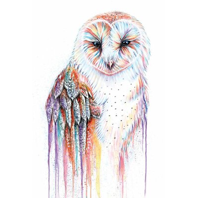 Barred Rainbow Owl Painting on Wrapped Canvas Size: 18