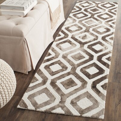 Jawhar Ivory/Chocolate Area Rug Rug Size: Runner 23 x 6