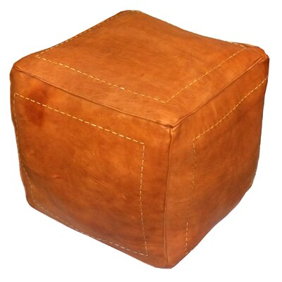 Carnuel Pouf Leather Ottoman Upholstery: Dark Orange