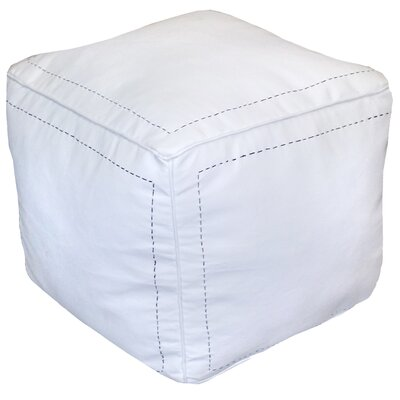 Carnuel Leather Pouf Upholstery: White