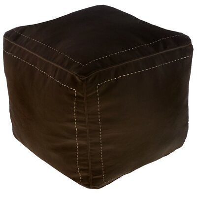 Mouassine Leather Pouf Upholstery: Chocolate