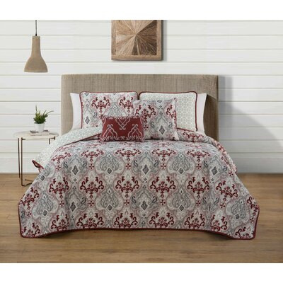 Douse 5 Piece Quilt Set Size: Queen, Color: Red