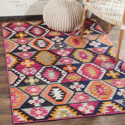 Haywood Yellow/Pink Area Rug Rug Size: Rectangle 51 x 77