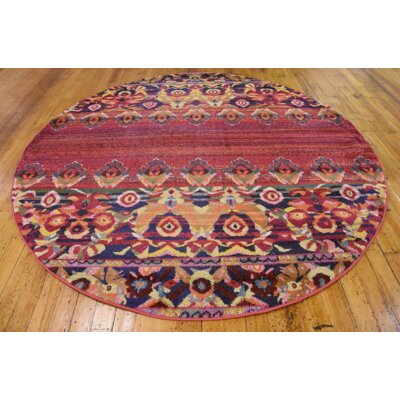 Rialto Red Area Rug Rug Size: Round 3'3