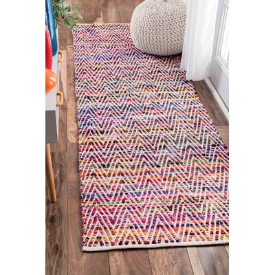 Hussain Hand Woven Cotton Magenta Area Rug Rug Size: Runner 26 x 8
