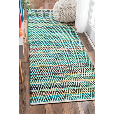 Hughes Hand-Woven Green Area Rug Rug Size: Rectangle 76 x 96
