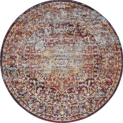 Koury Beige/Red Area Rug Rug Size: Round 5 x 5