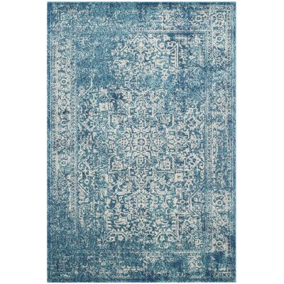 Elson Blue/Ivory Area Rug Rug Size: Rectangle 51 x 76