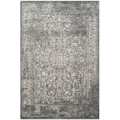 Elson Power Loom Polypropylene Gray/Ivory Area Rug Rug Size: Rectangle 51 x 76