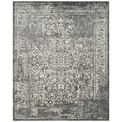 Elson Power Loom Polypropylene Gray/Ivory Area Rug Rug Size: Rectangle 8 x 10
