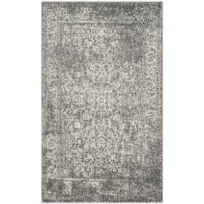 Elson Power Loom Polypropylene Gray/Ivory Area Rug Rug Size: Rectangle 3 x 5
