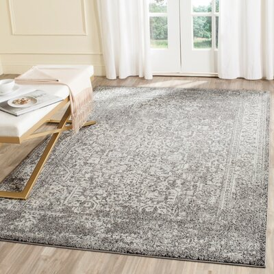 Elson Power Loom Polypropylene Gray/Ivory Area Rug Rug Size: 12 x 18