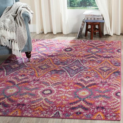 Loretta Fuchsia Area Rug Rug Size: Rectangle 67 x 92