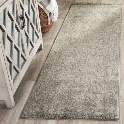 Chaudiere Silver/Ivory Area Rug Rug Size: Runner 22 x 19