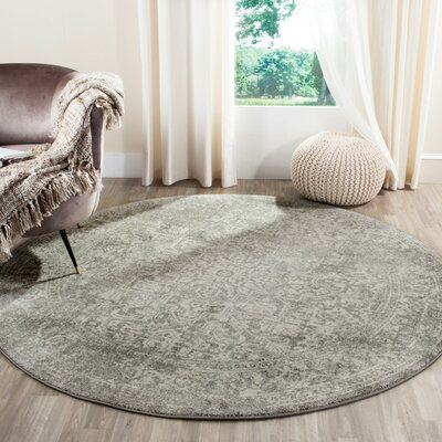 Chaudiere Silver/Ivory Area Rug Rug Size: Round 67 x 67