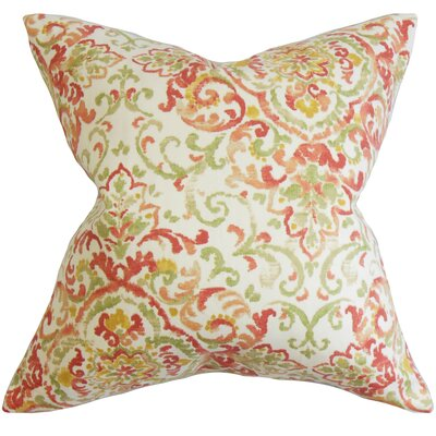 Calandre Floral Bedding Sham Size: Euro, Color: Dark Green/Red