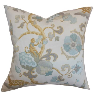 Rana Floral Cotton Throw Pillow Cover Color: Natural Aqua