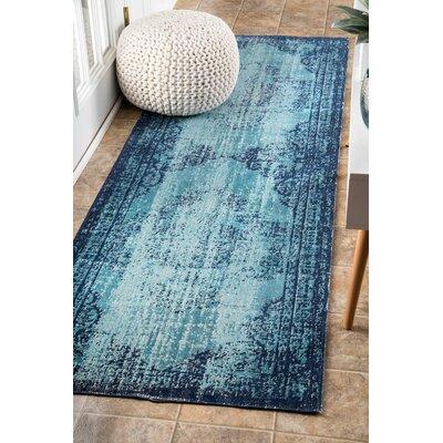 Azar Blue Area Rug Rug Size: Runner 28 x 8