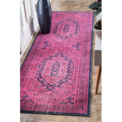 Babbar Pink Area Rug Rug Size: Runner 28 x 8
