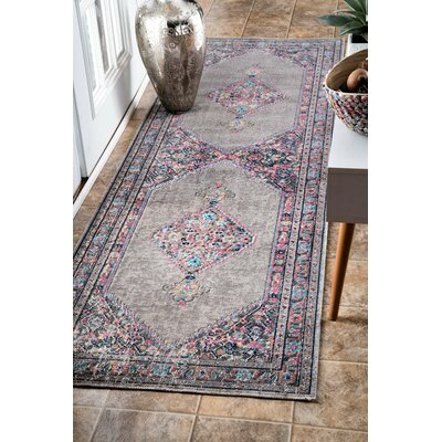 Choncey Gray/Black Area Rug Rug Size: Runner 28 x 8