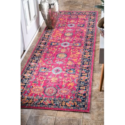 Ayush Pink Area Rug Rug Size: Runner 28 x 8