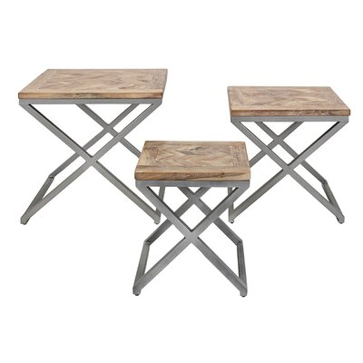 3 Piece X-Leg Wood End Table Set