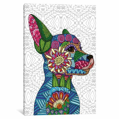 Folk Art Puppy Graphic Art on Wrapped Canvas Size: 12