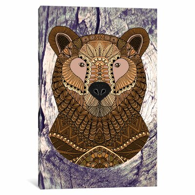 Ornate Brown Bear Graphic Art on Wrapped Canvas