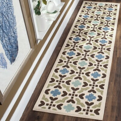 Elvire Cream/Aqua Indoor/Outdoor Area Rug Rug Size: Runner 23 x 8