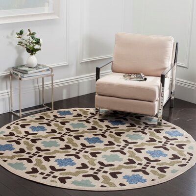 Elvire Cream/Aqua Indoor/Outdoor Area Rug Rug Size: Round 67