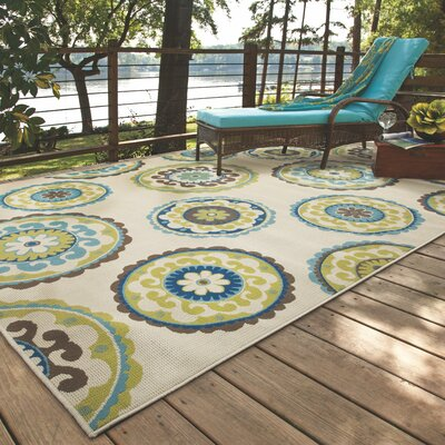 Capri Beige/Green Indoor/Outdoor Area Rug Rug Size: Rectangle 37 x 56