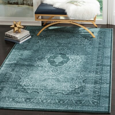 Euramo Light Blue/Dark Blue Area Rug Rug Size: 51 x 76