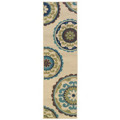 Capri Beige/Green Indoor/Outdoor Area Rug Rug Size: Runner 23 x 76