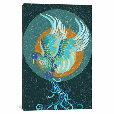 New Water Phoenix Graphic Art on Wrapped Canvas Size: 12
