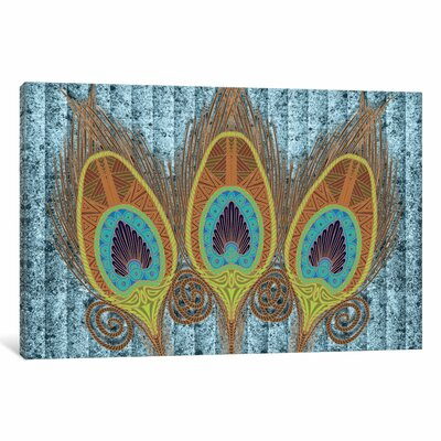 Peacock Feathers Graphic Art on Wrapped Canvas